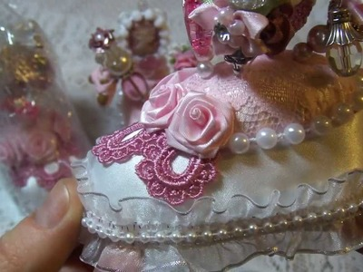 Shabby chic pin cushion and stick pins