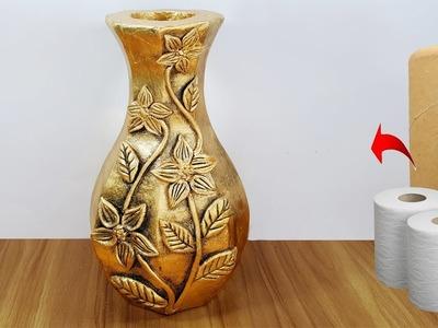 ফুলদানী তৈরি শিখুন .Awesome flower vase make with paper roll
