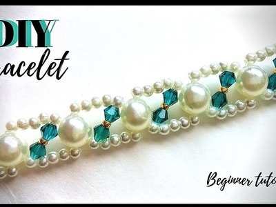 10 minutes  DIY bracelet.  Beaded bracelet.  Beading tutorial. (part 1)
