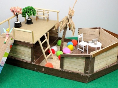 3 Easy Miniature Backyard Playground (Playsets) - Popsicle Stick Crafts | Toys for Kids