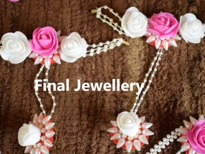Artificial flowers jewellery making - Bangles with finger ring for dohale jevan or haldi function