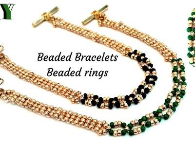 Beaded bracelets. beaded rings. jewelry making tutorial