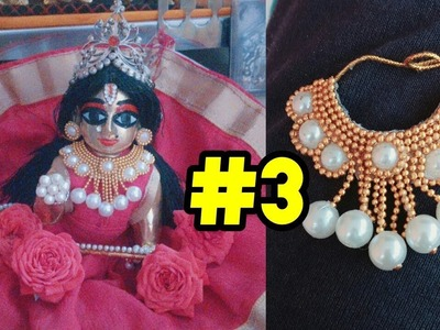 Beautiful Pearl necklace for laddu gopal   easy and simple to make  pattern 3