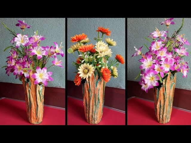 Best use of Old t-shirt and plaster of paris   Make a Beautiful flower vase
