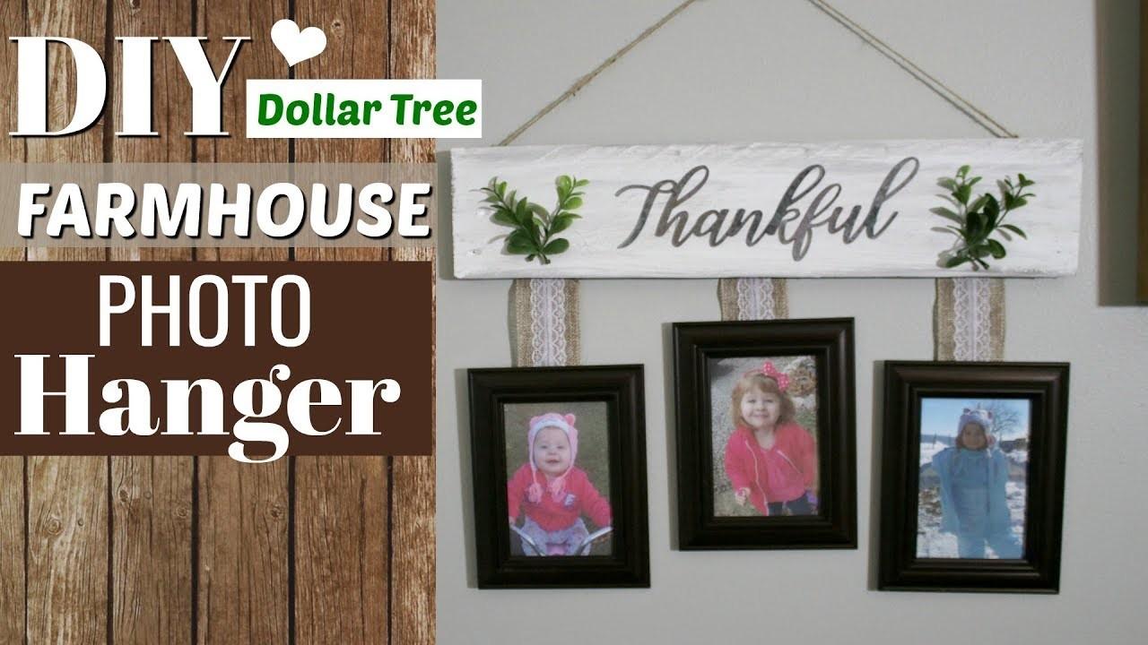 DIY Farmhouse Photo Hanger | Dollar Tree Farmhouse DIY | Krafts by Katelyn