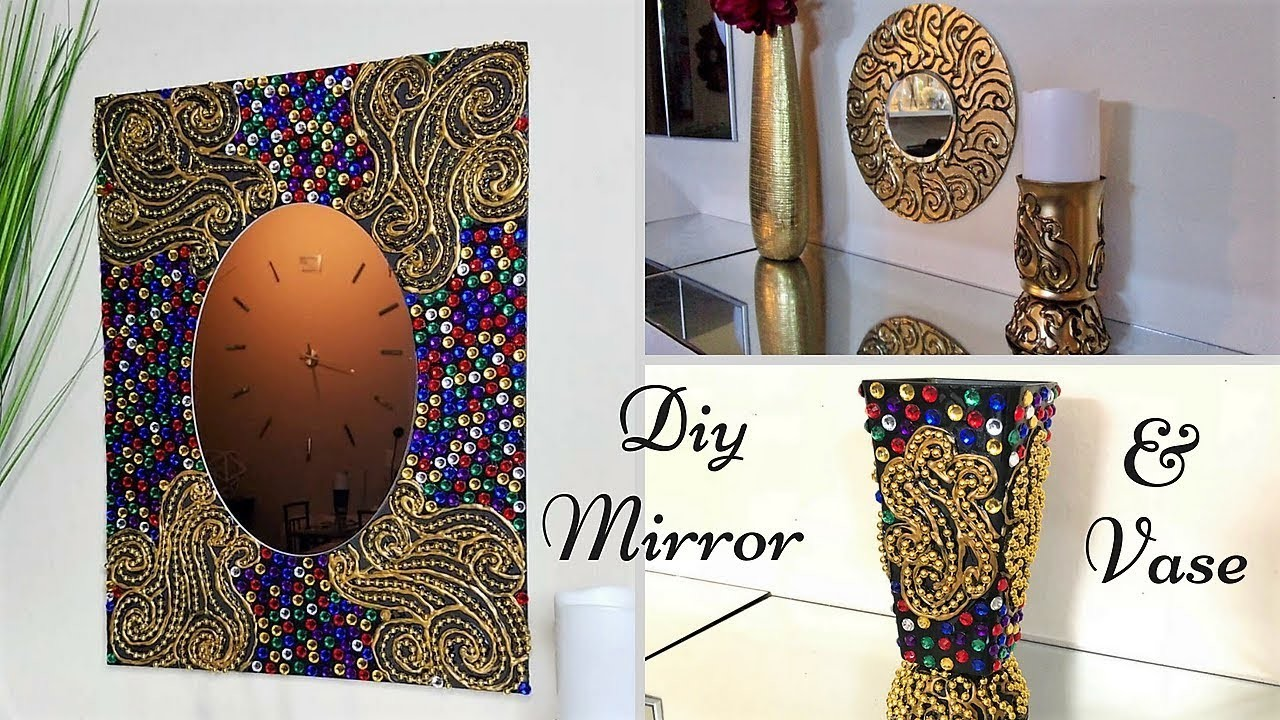 Diy Fiery colored Wall Mirror and Vase Decor  Simple and Inexpensive Abstract Wall Mirror Decor!