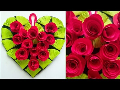 Diy paper flower wall hanging.Simple and beautiful wall hanging.Wall decoration by KovaiCraft #38