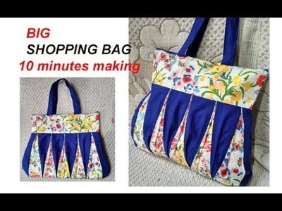 EASY. . handmade big shopping bag. lunch bag. handbag cutting and stitching in hindi.Travel Bag