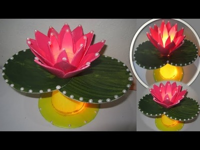 HM Make Lotus flower with disposable tea glass || Night Lamp of Lotus flower made of thermo glass