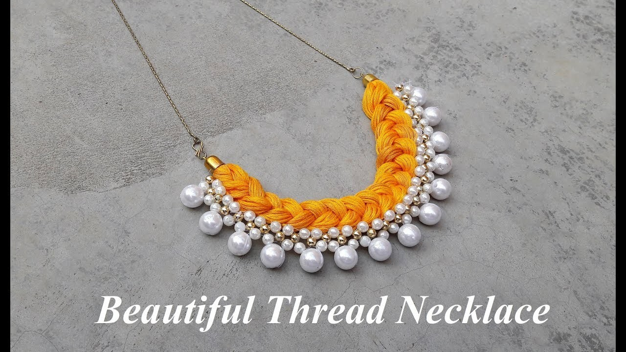 How to make thread necklace at home.DIY.Handmade pearl necklace.Pearl necklace.Creation&you