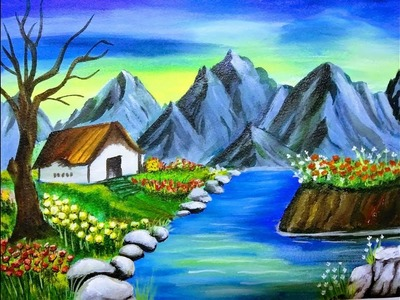 How to paint nature scenery with mountain   Acrylic painting for beginners