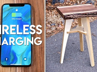Live Edge End Table with Wireless Charging. Flat Pack Furniture Woodworking Project