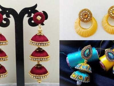 New silk thread earrings design ideas.Kundan silk thread earrings for indian outfits