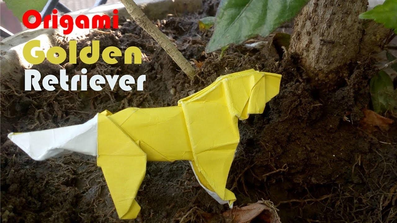Origami golden retriever.origami dog (Satoshi Kamiya)