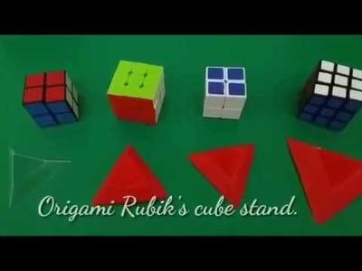Origami Rubik's Cube stand l Easy Origami Paper Rubik's Cube Stand