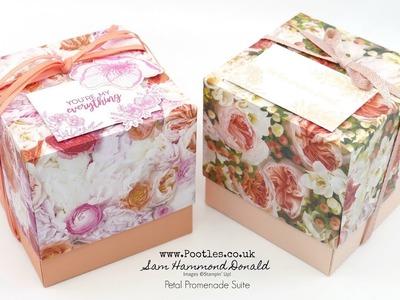 Stampin' Up! Beautiful Petal Promenade 4 x 4 Cube Lidded Box