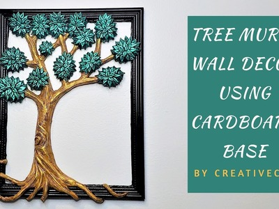 Wall Decor Tree Mural using Cardboard Base(Best out of Waste)
