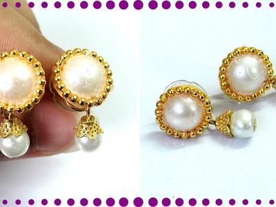 5 min Beautiful & Cute DIY Pearl Earring design | 5 min Craft | Handmade jewellery for Girls !