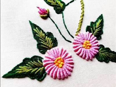 Bullion knot stitch for beautiful flower design | Hand Embroidery Designs