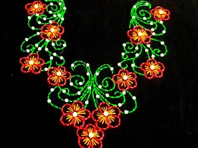 Hand embroidery designs   Neck design for dresses.