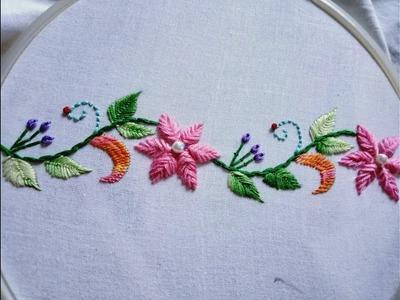 Hand embroidery.  Hula flower stitch. Border design.