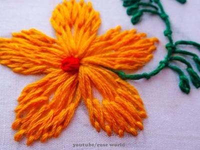 Hand Embroidery Stitch: Lazy Daisy stitch modern flower embroidery part-3