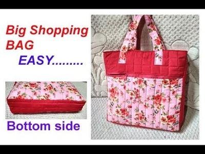 Handmade big shopping bag. lunch bag. cutting and stitching in hindi.Travel Bag.shoulder bag