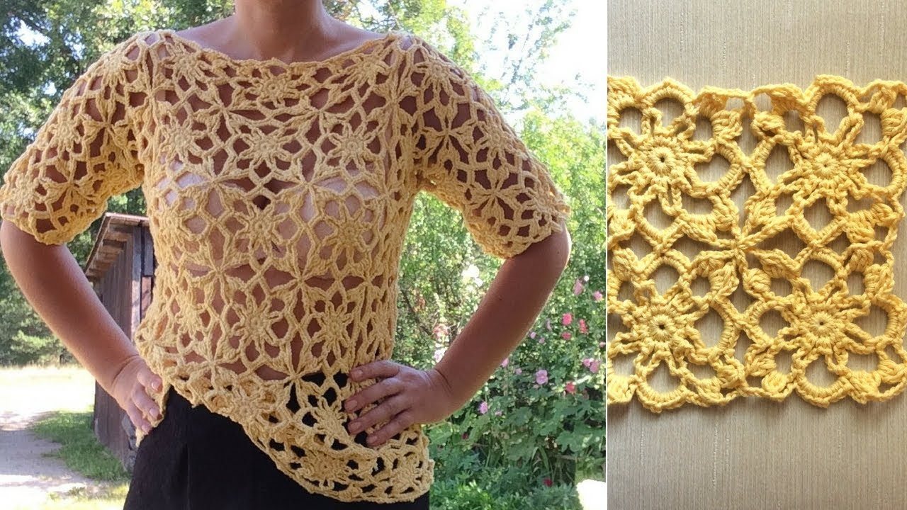 How To Crochet Lace Square Motif Pullover Top Part 2 of 2 Joining The Motifs