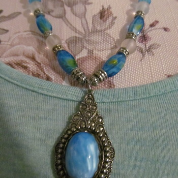 Natural Blue Gemstone Bead Hand made  Necklace