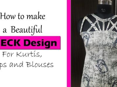 NECKLINE Design Tutorial | Amazing neck design for Dresses and Kurtis| Hindi & Eng. subtitles