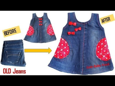 Quick Transformation  Old Jeans Into Cute Baby Frock