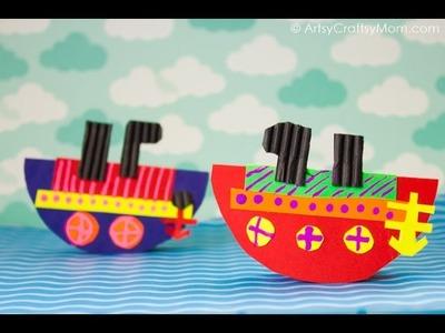 Rocking Paper Boat Craft   Easy Paper Craft Ideas For Kids   ArtsyCraftsyMom