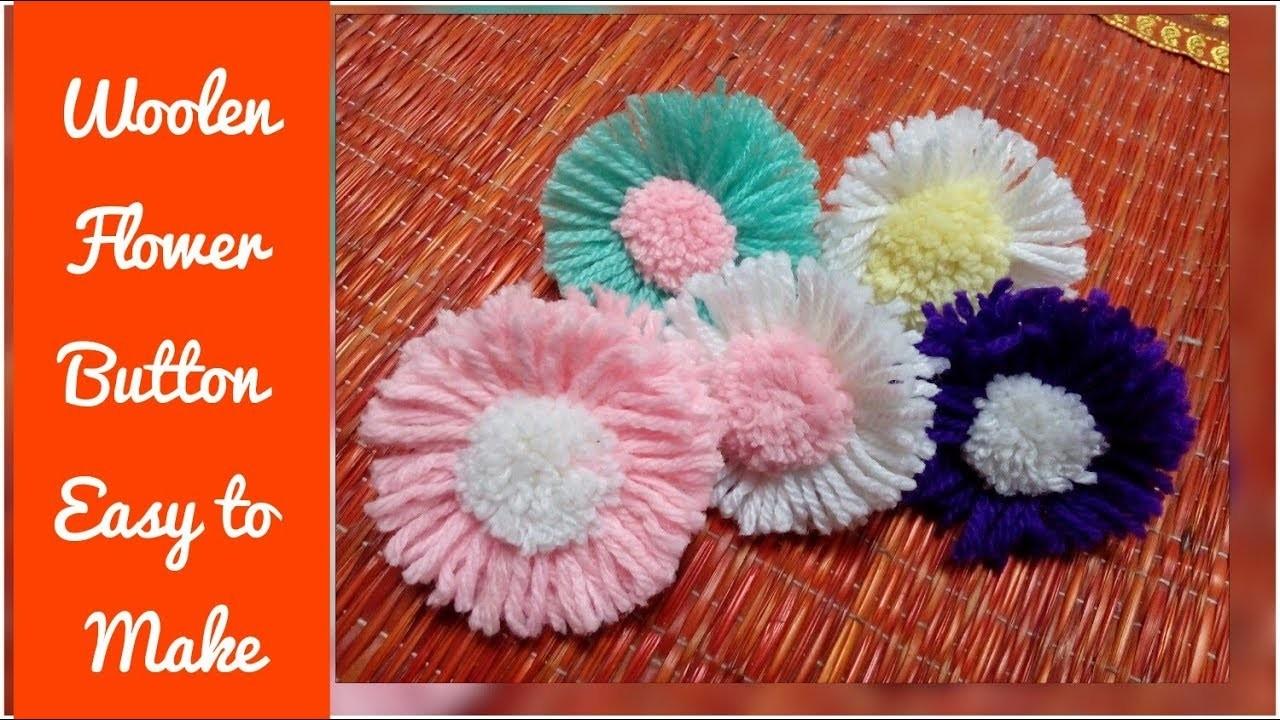 Stylish Woolen Flower Button Design_ Easy to Make