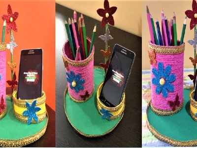 Teachers day gift ideas | making pen holder showpiece | mobile holder | pencil stand showpiece