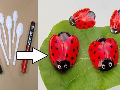 প্লাস্টিক চামচ দিয়ে দারুন আইডিয়া || How to Make Ladybug out of Plastic Spoon || DIY Recycling Ideas