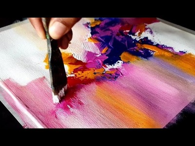 Very Easy and Colorful Abstract Painting. Acrylics. Project 365 days. Day #011. Demonstration