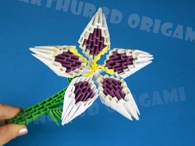 3D Origami lily from pieces of paper ♡ DIY How to make a beautiful flower