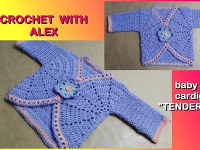 "CROCHET BABY CARDIGAN JACKET ""TENDERNESS"" any size tutorial Alex Crochet"