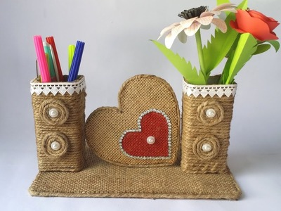 DIY: Best Out of Waste Toothpaste Box. Easy Jute.Twine Craft Idea!!! Recycled materials Craft!!!