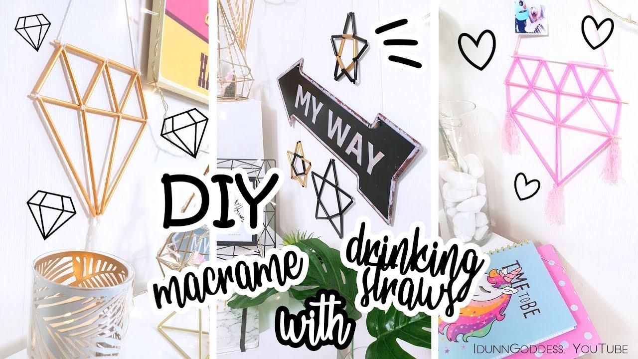 DIY Easy Macrame Wall Decor With Drinking Straws – How To Make Boho Macrame Wall Hanging