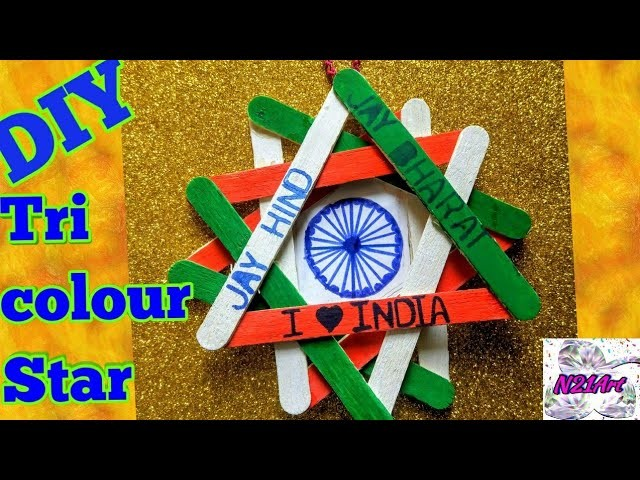 DIY  Independence day craft  tricolor popsicle stick craft  kids craft Republic day craft