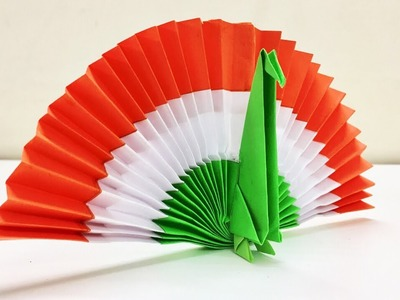 DIY PAPER PEACOCK | ORIGAMI PEACOCK | DIY INDEPENDENCE  DAY DECOR | FLAG COLOR PEACOCK