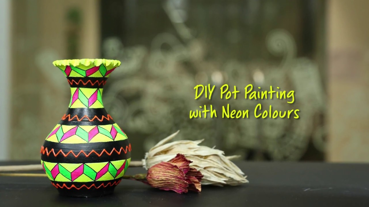 DIY Pot Painting with Neon Colours