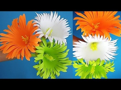 DIY. Tricolor. Independence Day Craft. Flower stick. Decoration Ideas. Paper Crafts.