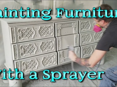 Dresser Makeover with a Sprayer Glazing with Wood Stain