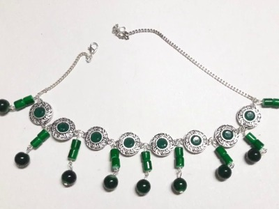 GERMAN SILVER CHOKERS WITH GLASS BEADS. REQUESTED