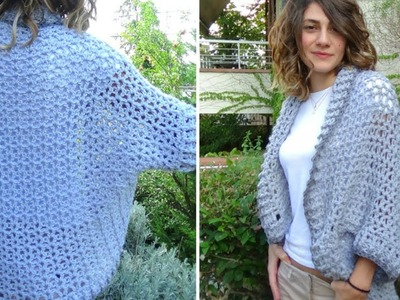 How to crochet a chunky easy shrug-cardigan!