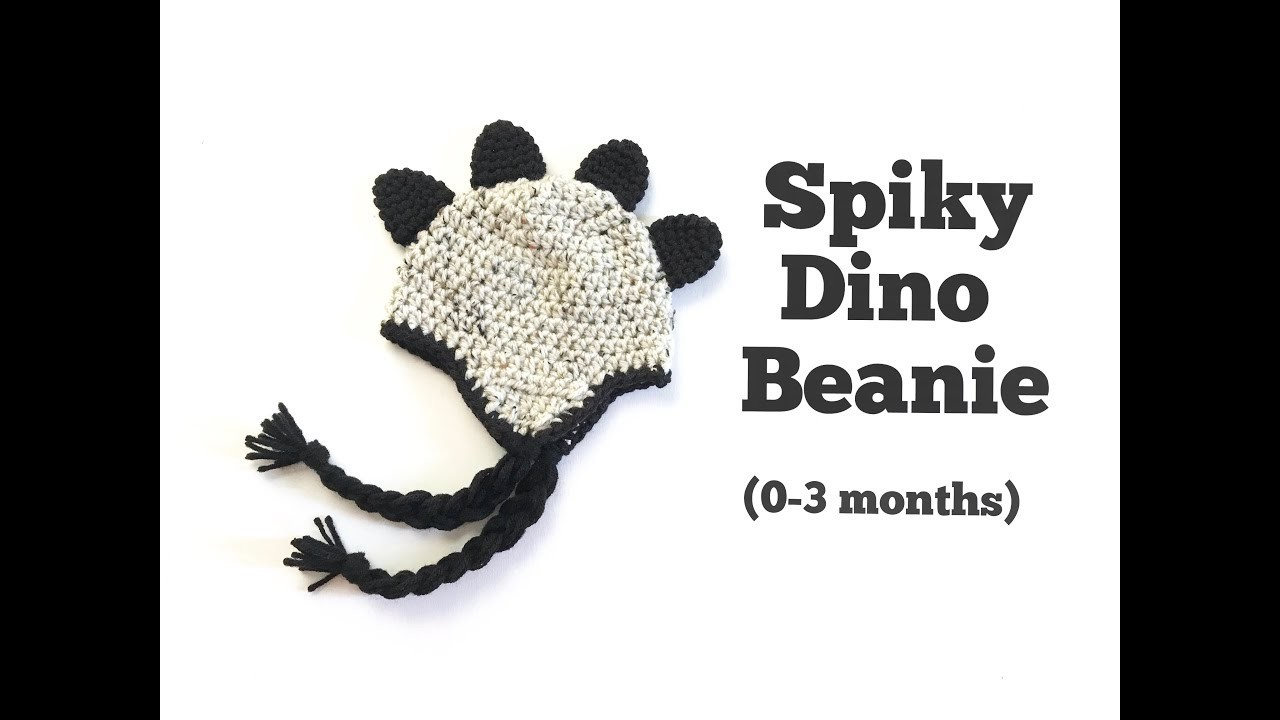 How to Crochet Spiky Dino Beanie (0-3 months)