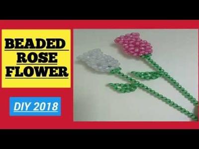 HOW TO MAKE BEADED ROSE FLOWER????BEADS CRAFT????DIY TUTORIAL (2018)????????????