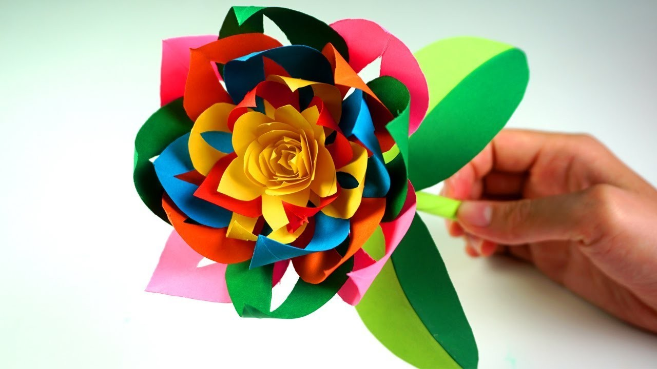 How To Make Beautiful Paper Stick Flower Diy Hand Craft Ideas For Kids